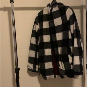 Black and white hooded button up Sherpa